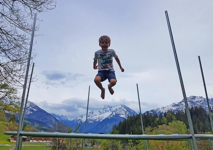 Casper jumping for joy in Switzerland