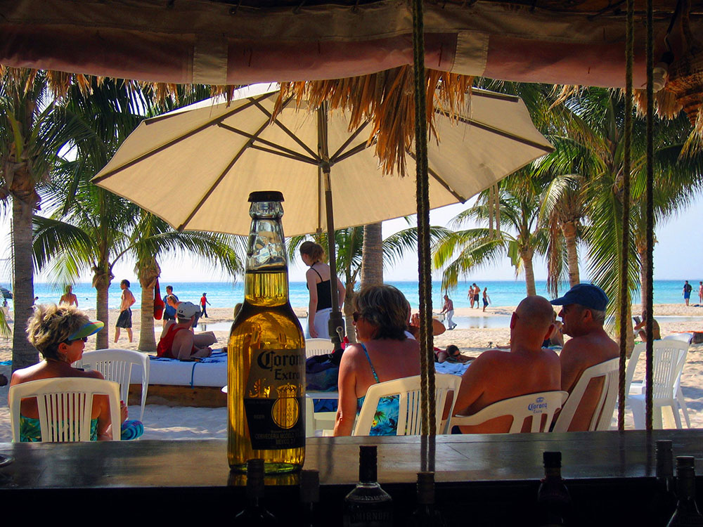 Having a beer in Mexico