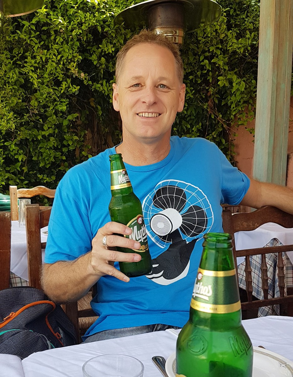Having a beer in Athens Greece