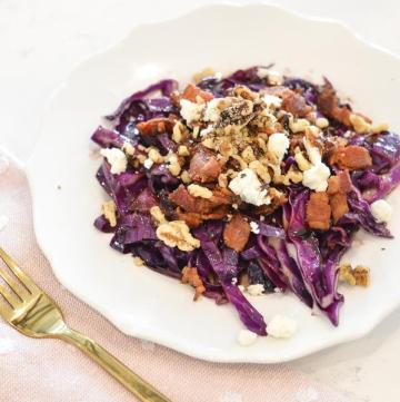 This bacon cabbage salad is warm, flavorful and the perfect meal. It has all the bold flavors of bacon with the earthy cabbage and nutty walnuts. Aged balsamic is the perfect glaze to this delicious vegetable salad.