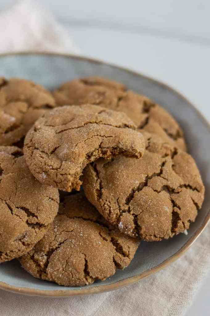 Gluten-Free Ginger Molasses Cookies on a plate