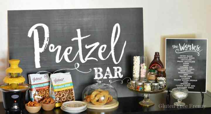 Pretzel Bar Party that you can easily put together! Such fun elements like a nacho cheese fountain, giant inflatable pretzel and cute signs. www.glutenfreefrenzy.com