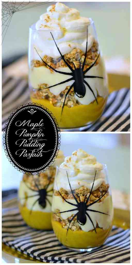 YUM! Maple Pumpkin Pudding Parfaits with HOMEMADE pudding! So easy to make and they will definitely WOW at your next Halloween or Fall Harvest party! This is an easy fall dessert that everyone will love. | Gluten Free Desserts | Gluten Free Recipes | gluten-free halloween desserts | Fall Themed Desserts | Halloween Themed Desserts | Gluten Free Parfait Recipe || This Vivacious Life