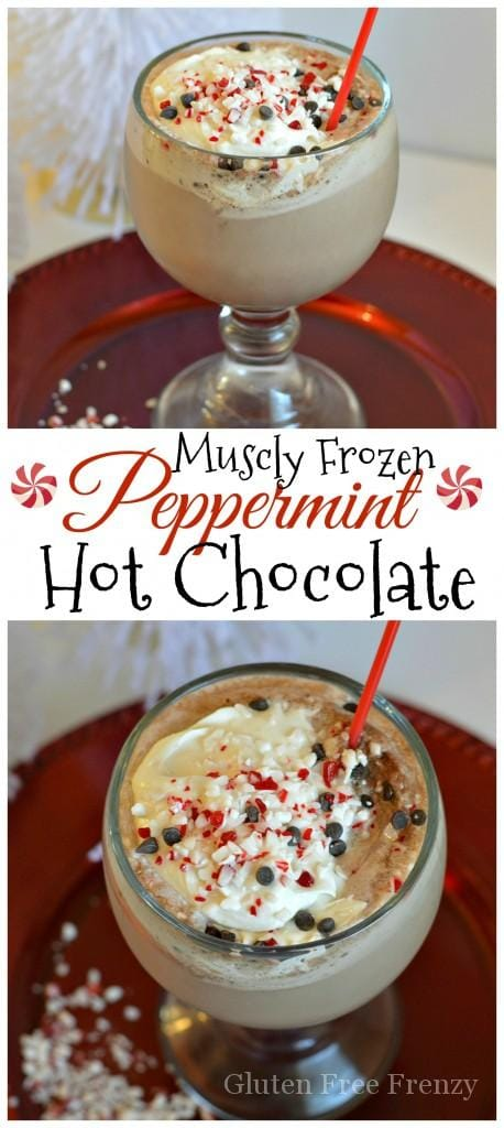 This muscly frozen peppermint hot chocolate is packed full of great holiday flavors. PLUS it's got tons of protein! Indulge without all the guilt this holiday season.
