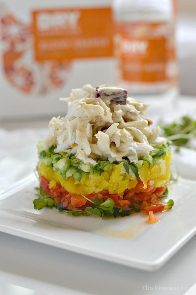 This crab stack with blood orange vinaigrette is fresh and delicate. It is the perfect summer meal that can be made in minutes. | gluten-free crab recipes | healthy crab recipes | healthy lunch recipes | gluten-free lunch recipes | gluten-free vinaigrette || This Vivacious Life #crabstack #glutenfreelunch #glutenfreecrab