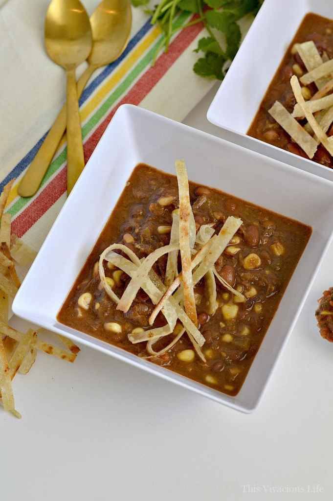 This shredded beef crockpot taco soup is so delicious and easy to make. It can be made easily with leftovers during the week for dinner. It's even gluten-free. | instant pot soup recipes | gluten-free soup recipes | healthy taco soup recipe | easy soup recipes | gluten-free dinners | gluten-free instant pot recipe || This Vivacious Life #instantpot #glutenfreesoup #healthysoups