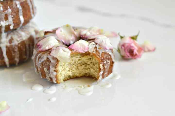 These gluten-free fried cake donuts are SO authentic and delicious! Nobody will ever know they aren't full of flour. Speaking of flour, how cute are those edible roses and how perfect are they for Earth Day?