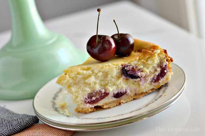 This gluten-free almond cherry cheesecake is rich, decadent and so delicious! It is a dessert bursting with fresh, summer flavors.