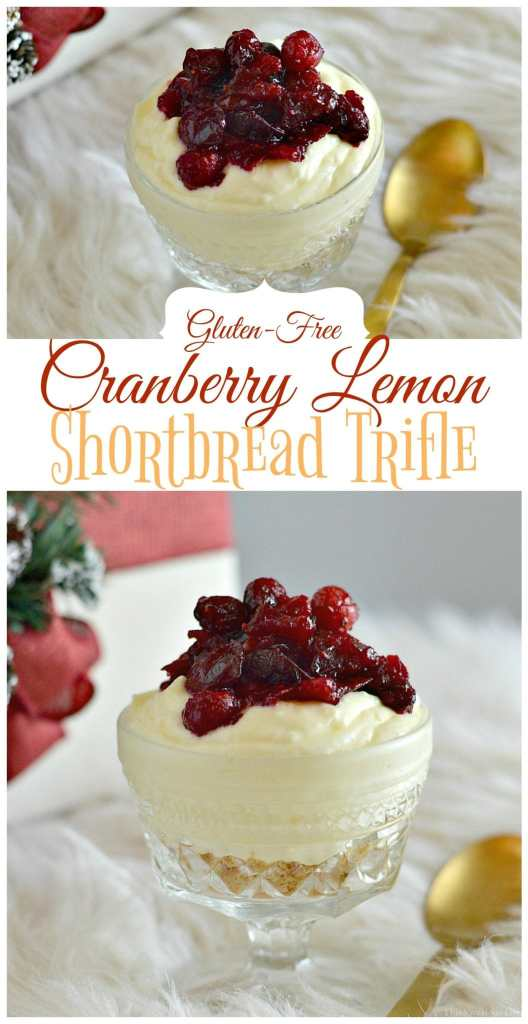 Gluten-Free Cranberry Lemon Shortbread Trifle Perfect For Holiday Parties | gluten-free trifle recipes | gluten-free holiday desserts | gluten-free holiday recipes | homemade trifle recipe | easy trifle recipe | gluten-free dessert recipes || This Vivacious Life #glutenfreedessert #triflerecipe #holidaydessert
