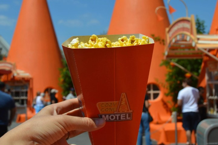 Cars Land popcorn in an orange cone