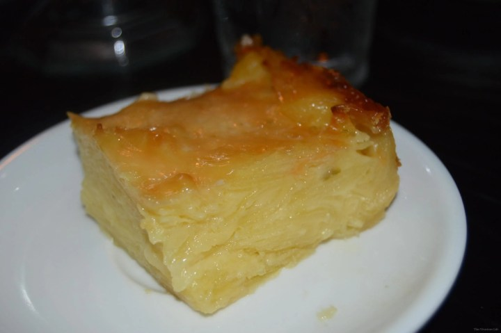 Square slice of potato casserole