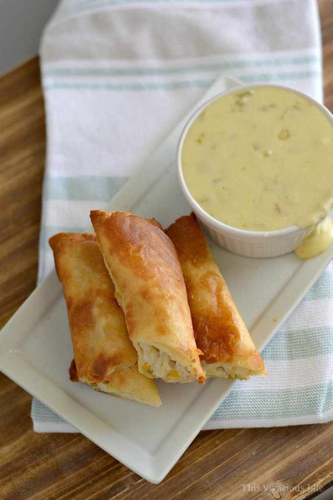 These gluten-free turkey, corn and cream cheese flautas with spicy white queso is the perfect Thanksgiving leftover meal. | thanksgiving recipe ideas | how to use thanksgiving leftovers | thanksgiving leftover recipes | Gluten-free thanksgiving recipes | Gluten-free recipe ideas | Gluten-free recipes | Mexican flauta recipes || This Vivacious Life #Glutenfree #Thanksgivingleftovers