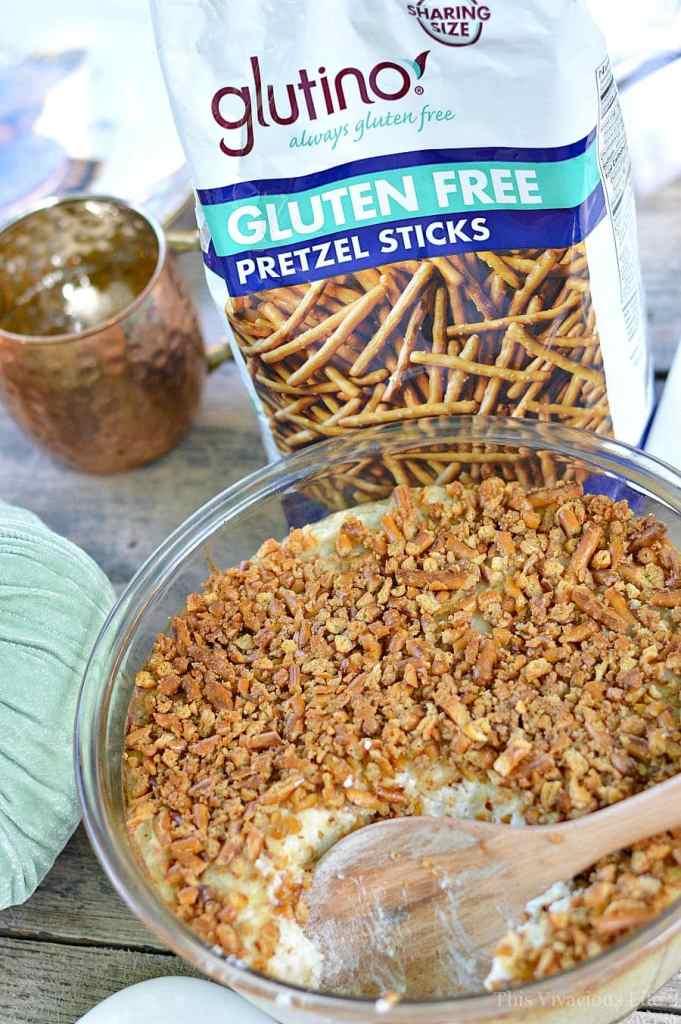 Ham n' Cheese Potato Casserole w/ Pretzel Crust | Thanksgiving Leftovers | leftover ham recipes | ham casserole recipes | thanksgiving recipe ideas | how to use thanksgiving leftovers | thanksgiving leftover recipes | Gluten-free thanksgiving recipes | Gluten-free recipe ideas | Gluten-free recipes || This Vivacious Life #Glutenfree #Thanksgivingleftovers
