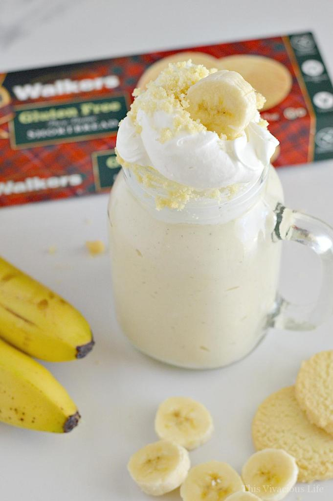 This banana cream pie milkshake is the perfect dessert for those of you who love Thanksgiving pie but don't want to go to all the trouble of making it. You are going to love these classic pie flavors that can be made in minutes. | gluten-free banana recipes | gluten-free shake recipes | pie inspired shakes | banana cream pie recipes | fun shakes and smoothies | gluten-free dessert recipes || This Vivacious Life #glutenfree #bananacream #shakerecipe #glutenfreedessert