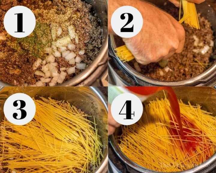Step by step instructions for making Instant Pot spaghetti