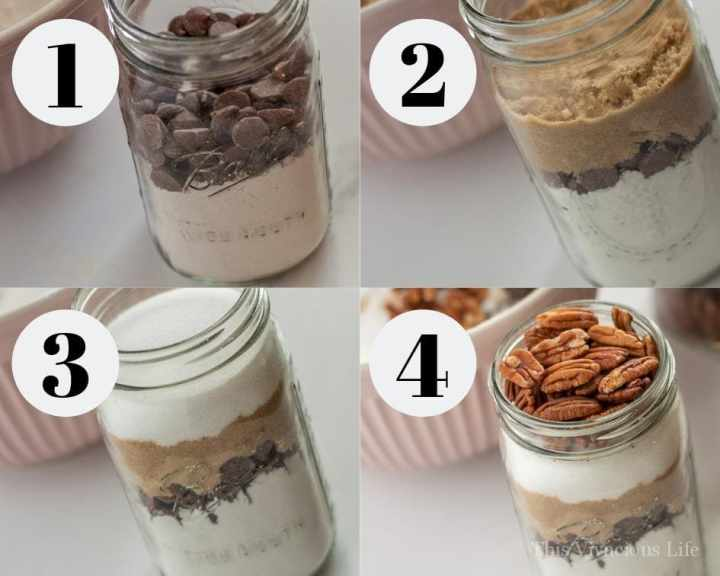 Photo collage of cookies being made in a jar