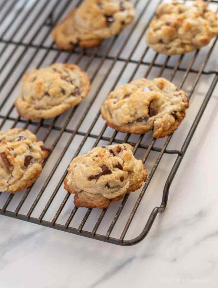 Chocolate chip cookies on a wire rack