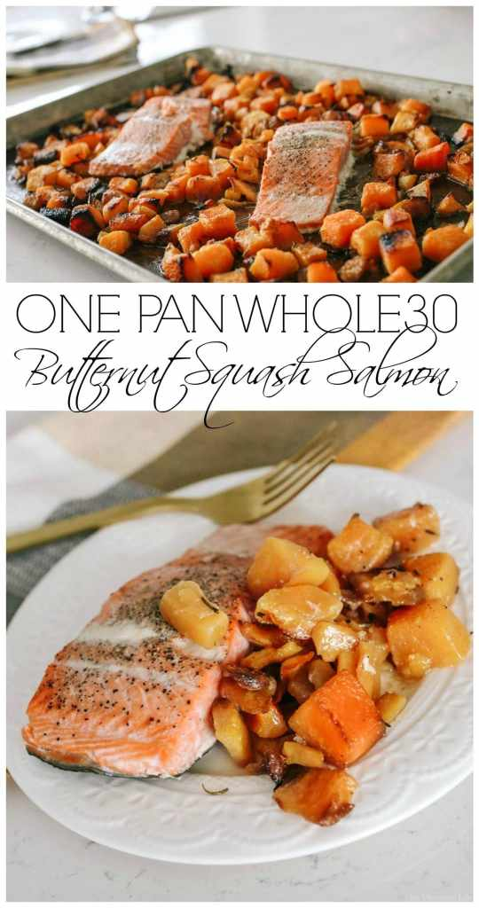 I love this one pan Whole30 butternut squash salmon because it's so flavorful and literally the easiest dinner to make.   whole30 dinner ideas   healthy dinner recipes   salmon recipes   one pan dinner ideas    This Vivacious Life #whole30dinner #onepandinner