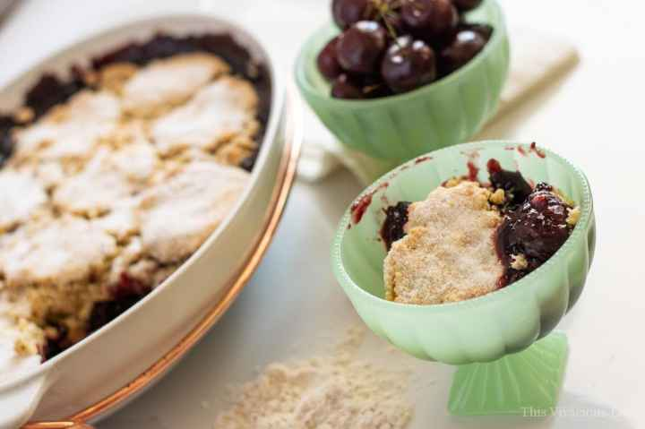 This gluten-free cherry cobbler is sure to please any palate. It is a crowd pleasing dessert and perfect for a summer picnic or bbq.