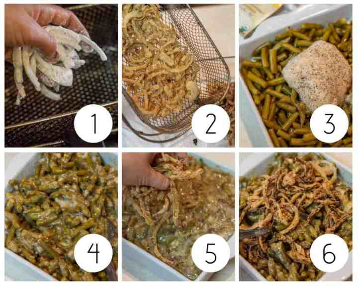 Step by step instructions for making gluten-free green bean casserole