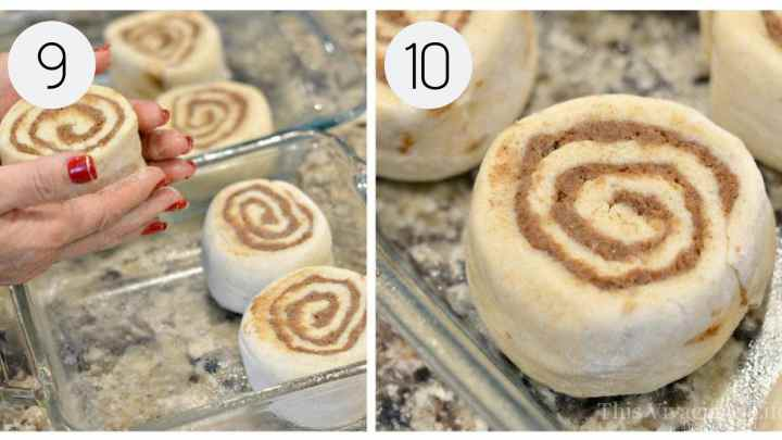 Step-by-step instructions for molding and place gluten-free cinnamon rolls into the glass pan.