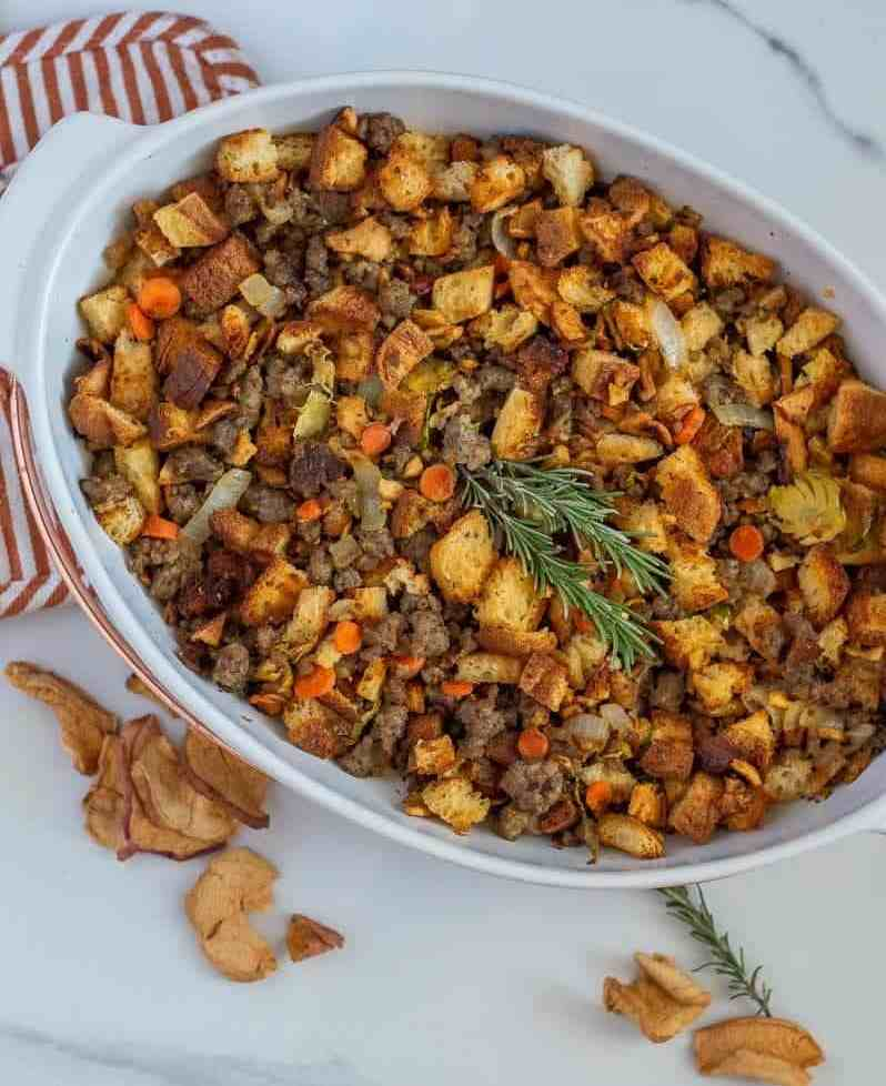 This sausage apple stuffing is so flavorful and delicious. It has all the best things gluten-free stuffing should have!