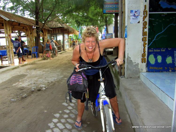 Val on a bike on Gili Trawangan