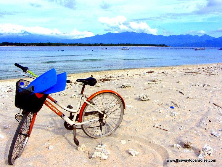 Orange bike on Gili Islands