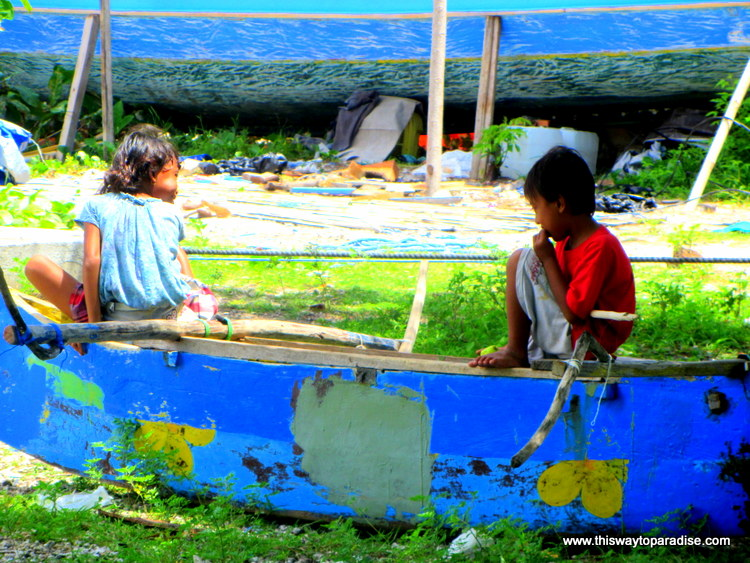 Children Playing on Boat, Gili Air, Gili Islands