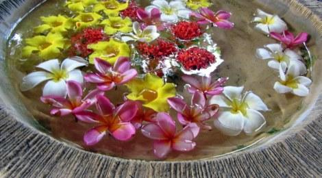 Bowl of flowers in Bali