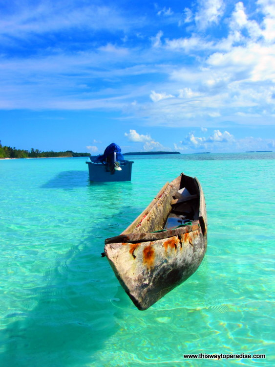 Boat in the water of the Spice Island of Kei Kecil