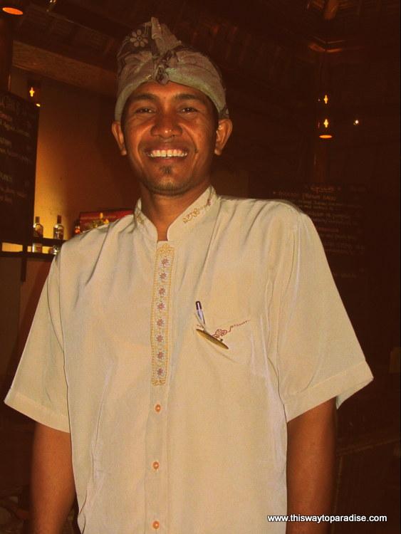 Waiter at CocoNuts, Amed, Bali