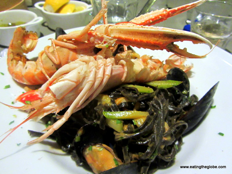 Crayfish with Squid Ink Pasta at Palazzo Almare Restaurant in Chania