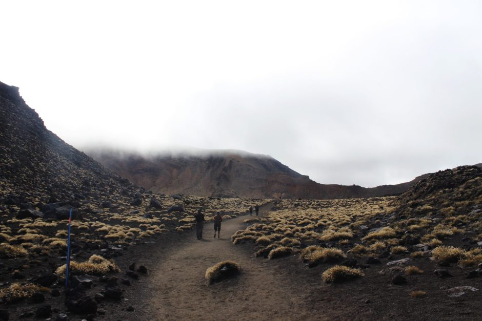 Walking into a crater on the Tongariro Alpine Crossing, New Zealand