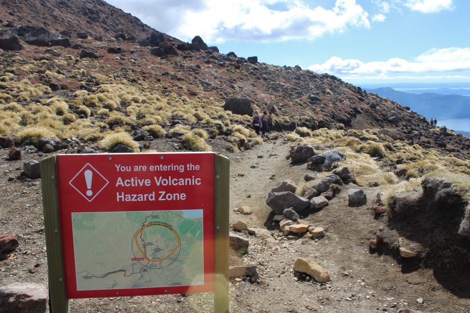 A warning sign on the Tongariro Alpine Crossing, New Zealand