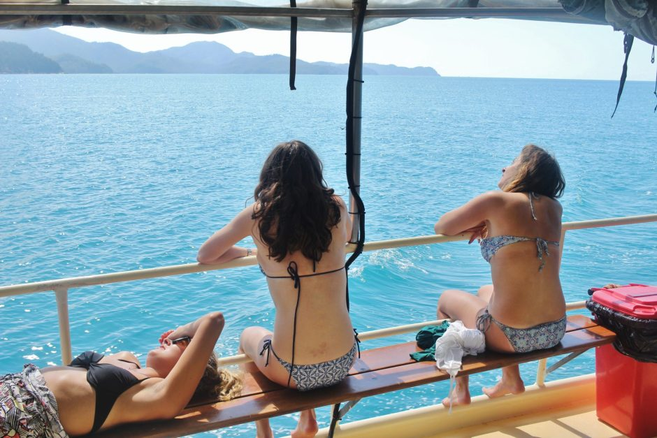 Relaxing on the boat in the Whitsunday Islands, Australia