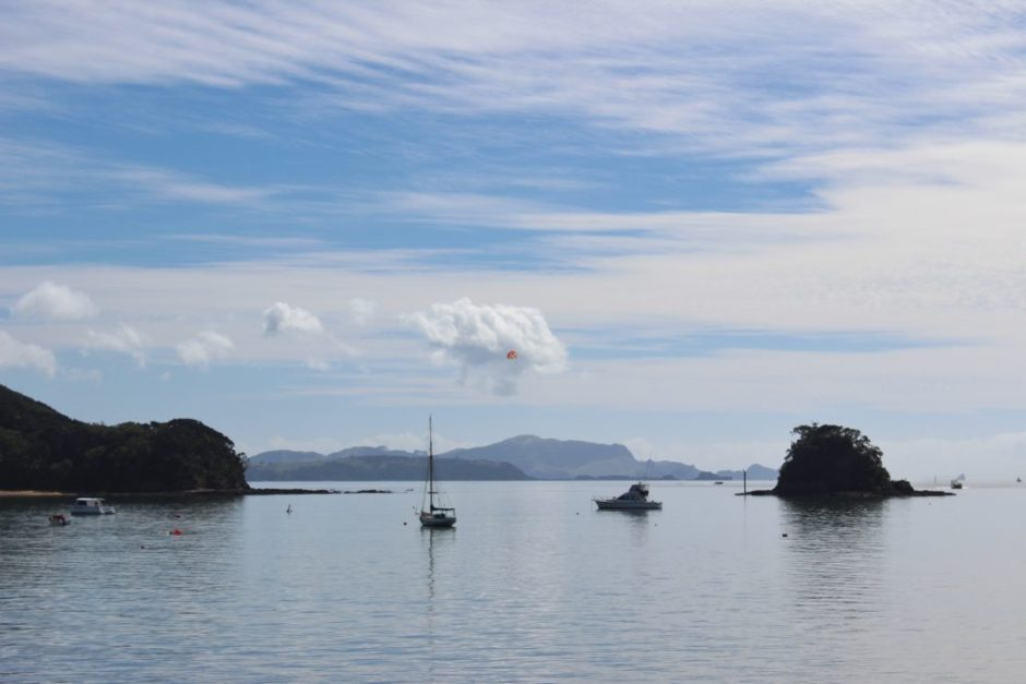 Boats moored in the By of Islands, New Zealand