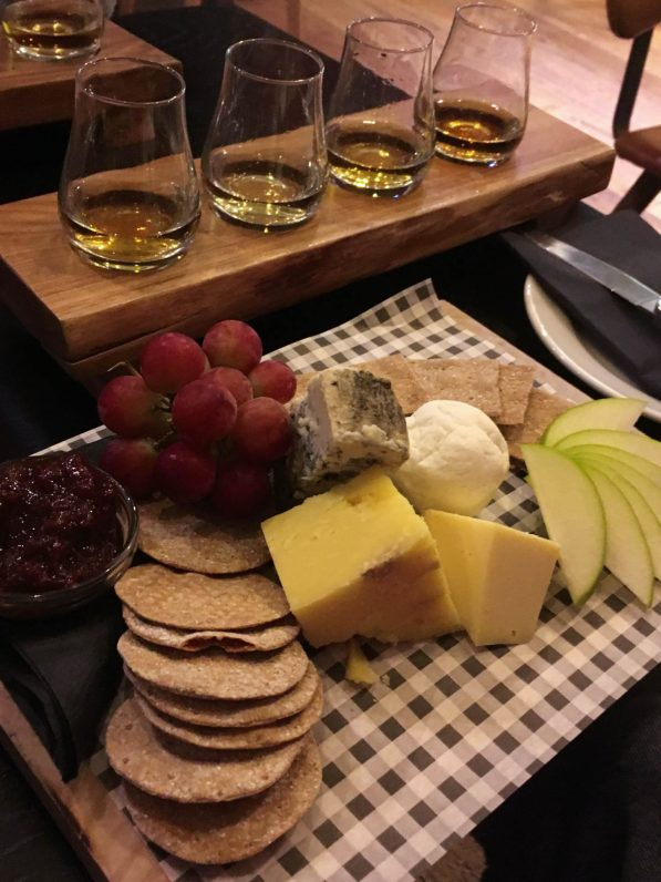 Whiskey tasters and cheese board in Killarney, Ireland