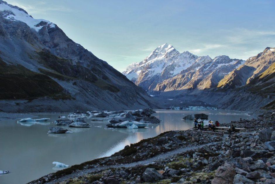 The Hooker Glacier lake at Aoraki, New Zealand