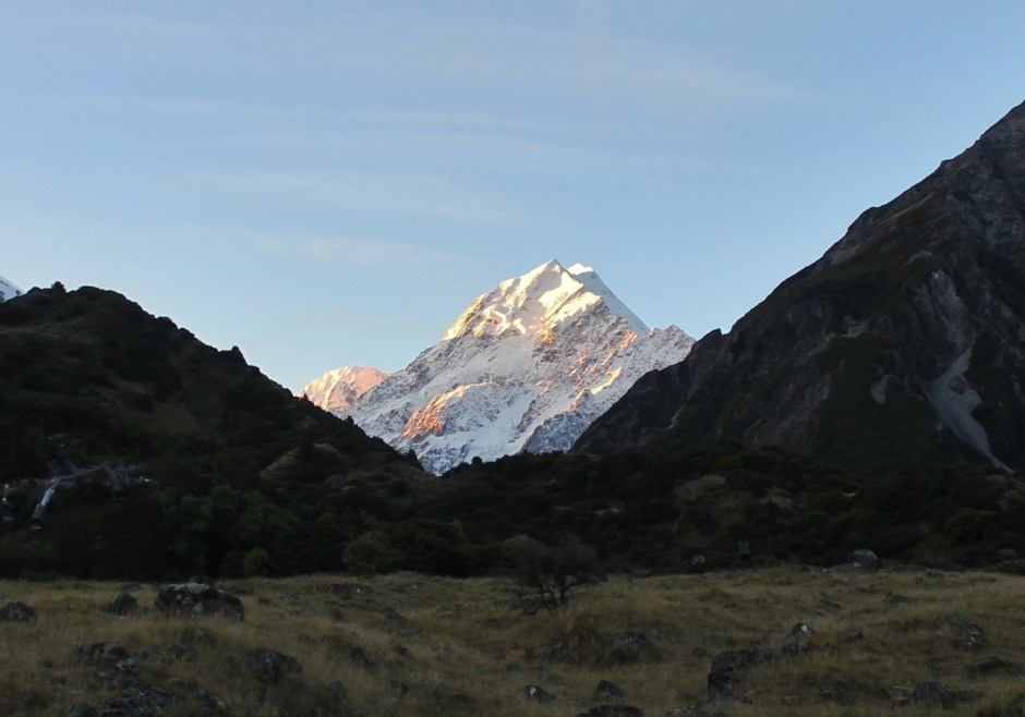 Sunset changing the colour on Aoraki, New Zealand