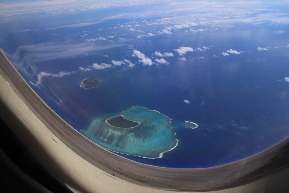 Islands seen from a plane window, Tonga