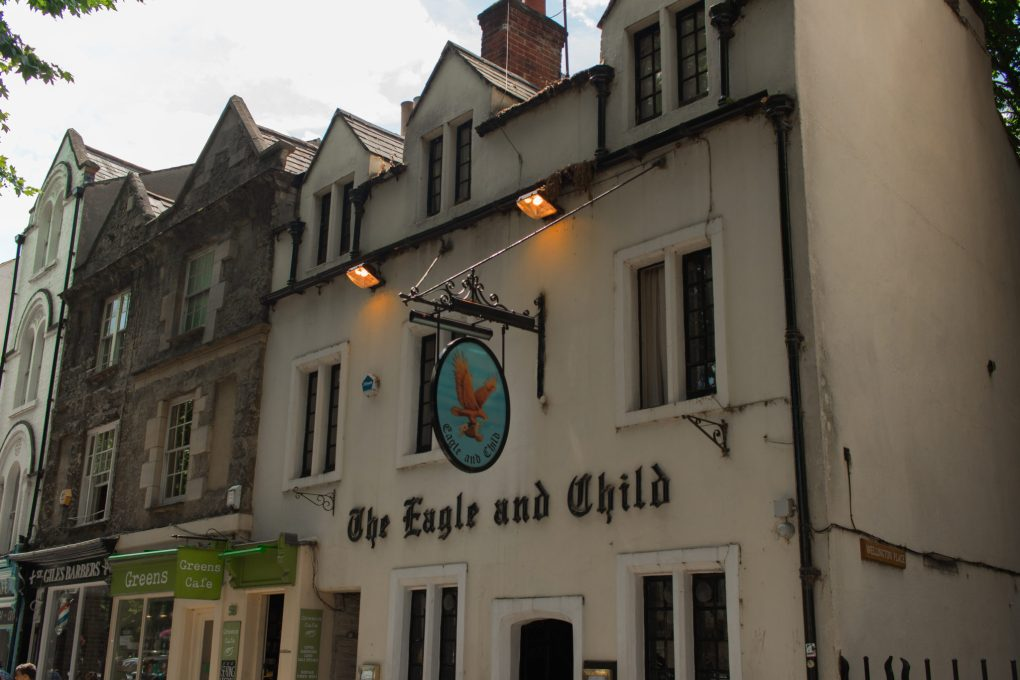 The Eagle and Child, a favourite haunt of Tolkien and Caroll, in Oxford, UK
