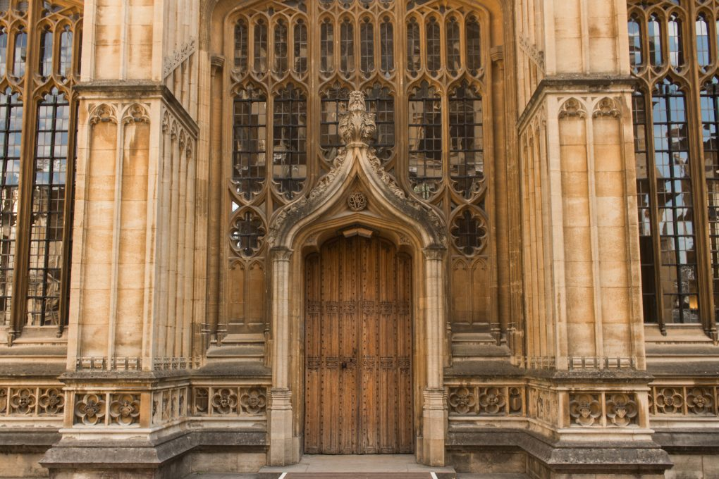 The external door of the Divinity Room in Oxford, UK
