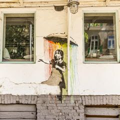 Rainbow street art in Warsaw, Poland