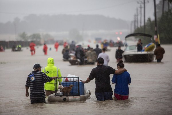 People escaping flooding