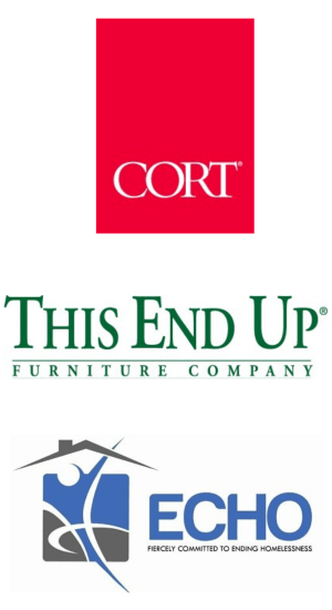 Logos of current business members, CORT, This End Up, and ECHO