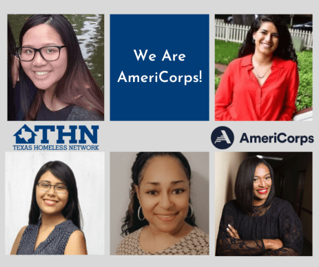 "a collage of THN AmeriCorps VISTAs headshots--Ann: top left, Cindy: bottom left, Toni: bottom center, Sabrina: bottom right, and Alondra: top right--with THN & AmeriCorps logo, and a blue square with the text ""We Are AmeriCorps"""