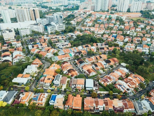An aerial view of houses in an urban sprawl