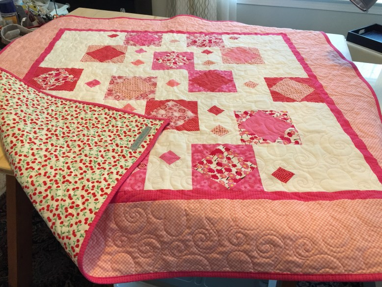 Custom Design Pink and Cherry Baby Quilt