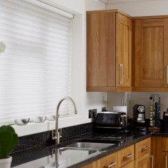 Kitchen Blinds Accessories Store Made To Measure With Thomas Sanderson White Duette Closed Blind Fitted Above Sink Open Silhouette